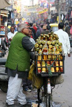 Market life in New Delhi, India.
