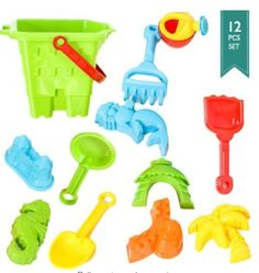 Sand Bucket 12-pcs TAKE THE FUN ANYWHERE http://amzn.to/2a1Kh0M Whether you are at the beach, in the bath, the yard or at the park; the toys are perfectly suitable for playing with sand, water and other molding materials. Price:$14.99 https://dashburst.com/michaela09/161