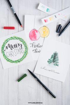 Aquarellkarten für Weihnachten - Weihnachtskarten leicht gemacht.