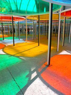 A colourgasm, created by Daniel Buren at Monumenta Paris Landscape Architecture, Landscape Design, Architecture Design, Online Architecture, Origami Architecture, Daniel Buren, Public Space Design, Shade Structure, Street Furniture