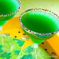 Lucky Charm St. Patricks Day Drink:   add Cointreau, Blue Curacao, orange juice and ice to a cocktail shaker, shake well and serve in a glass rimmed with rainbow sprinkles. Sláinte!