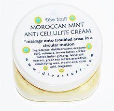 Retinol A, Indian Ginseng, Oregano & More! Anti-Cellulite Cream, Moroccan Mint Scent, 8 oz. - Made in the U.S.A. by DivaStuff.com