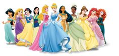 List of Disney Princesses. Background of each and great pictures that could be printed :)