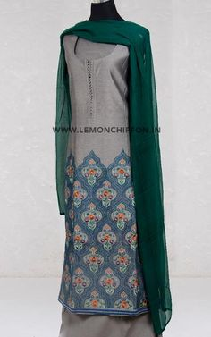 Exclusive cotton silk kurta with intricate resham embroidery work teamed with a cotton salwar and pure chiffon dupatta. Chiffon Saree, Cotton Silk, Salwar Suits, Indian Fashion, Lemon, Fabrics, Pure Products, Clothes For Women, Clothing