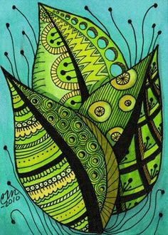 """Summer Leaves Zentangle Style"" by Cindy Vasquez: Bright summer leaves, fine line art with color adroitly added to emphasize patterning, done in pen & ink.Fine art print made from my original illustration. Doodles Zentangles, Zentangle Patterns, Zentangle Art Ideas, Zen Doodle, Doodle Art, Painting & Drawing, Silk Painting, Inspiration Art, Doodle Drawings"
