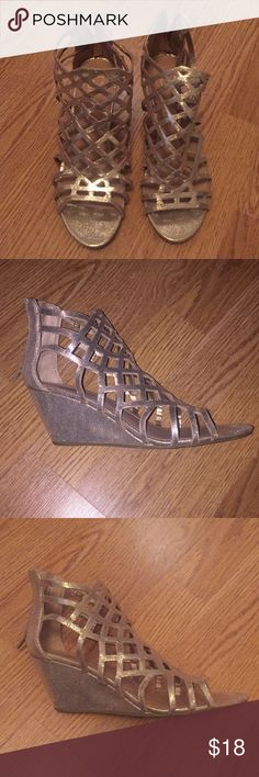 Material Girl Gold Wedges 7 1/2 Material Girl Gold Caged Wedges Size 7 1/2 Worn 2 or 3 times Willing to accept reasonable offers Material Girl Shoes Wedges