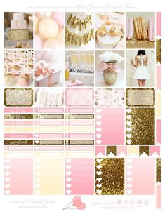 Free Printable Birthday Planner Stickers from Planner Onelove Gold. Pink and cream theme with glitter details Checklists with hearts, photo stickerd, labels and frames