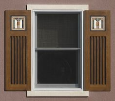 Mission style shutters with Trikeenan tile panels Craftsman Style Exterior, Craftsman Window Trim, Craftsman Bungalows, Craftsman Homes, Shutter Hardware, Shutter Doors, Mission Style Homes, Home Exterior Makeover, Window Shutters