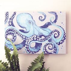 Aug 2019 - Octopus Wall Art Give your home decor seaside charm with this whimsical octopus canvas! Shark Painting, Octopus Painting, Painting Abstract, Cute Canvas Paintings, Canvas Canvas, Acrylic Paintings, Octopus Wall Art, Octopus Design, Psychedelic Art