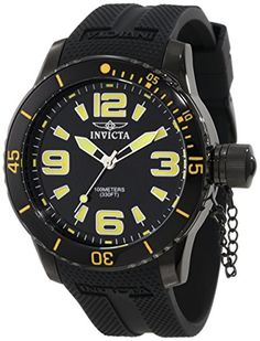 Men's Wrist Watches - Invicta Mens 1676 Specialty Black Dial Black Polyurethane Watch -- Want to know more, click on the image. (This is an Amazon affiliate link)