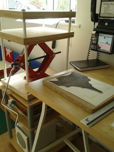 Lino printed greeting cards and home-made press.