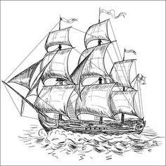 Stock vector of 'Vintage sailboat' Boat Drawing, Ship Drawing, Segel Tattoo, Pencil Drawings, Art Drawings, Ship Sketch, Castle Illustration, Wood Carving Patterns, Art Mural