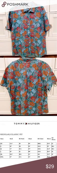 NWT Tommy Hilfiger Hawaiian tropical chambray shir NWT Mens Tommy Hilfiger Hawaiian Tropical shirt, chambrey background with tropical Hawaiian floral print.  Cool shirt for your bug cuddly guy for valentines day! ! Got it for my BIG BRO for Christmas...but it's not big enough, his loss is your gain! *This runs a tad small for a 2X so I'm recommending a 1X would fit this best. NWT New with tags, never worn or laundered Non smoking no pet home! Tommy Hilfiger Shirts