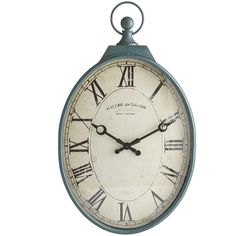 Antiqued Wall Clock - Teal