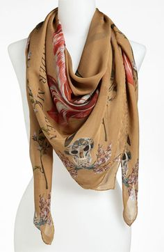 Alexander McQueen 'Tulip Skull' Scarf - Cool.  It's a skull!  (if only it wasn't $595!)