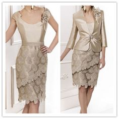 Lace Mother of the Bride Dresses With Coat Formal Outfit Evening Gown forWedding #DressSuit