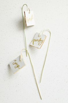 DIY gilded garden markers: http://www.stylemepretty.com/living/2015/05/03/12-favorite-diy-gifts-for-mothers-day/