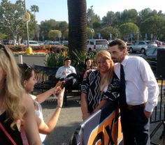 Skeet Ulrich taking pic with fans.. after taping an interview with  EXTRA tv show.. March 4 2014