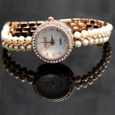 FW914A Rose Gold Tone Band White Dial Ladies Women Immited Pearl Bracelet Watch