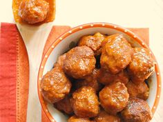Turkey Meatballs with Apple Barbecue Sauce in Slow Cooker from SavvyMom