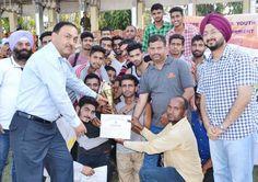 Athletes being felicitated by IGP Jammu S D Singh Jamwal and Simrandeep Singh Deputy Commissioner Jammu.