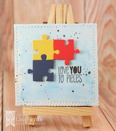 Light it up Blue for Autism Blog Hop with Lil' Inker Desings-Piece of Me stamp set, Mini Canvas die and puzzle piece die.