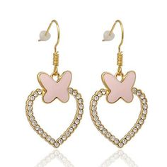 Beautiful gold plated dangle earrings with enamel butterfly and heart pendant studded with small crystals. Only £6. Limited availability, order yours now!