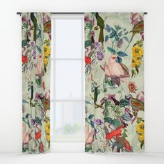 Floral and Birds VIII Window Curtains