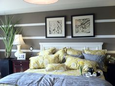 Striped wall and pillows!!! LOVE the colors