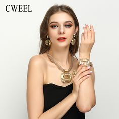 CWEEL Luxury Gold Color Jewelry Sets For Women Nigerian Wedding African Beads Necklace Earring Dubai Costume Bridal Accessories * AliExpress Affiliate's Pin. Click the VISIT button to find out more