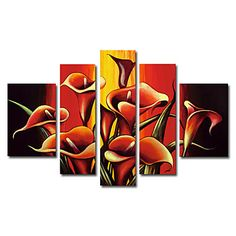 Hand-painted Oil Painting Floral Oversized Wide Set of 5 – USD $ 119.99
