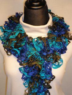 Navy/Brown/Blue Ruffle Scarf - Crocheted Ruffle Scarf - Ladies Crocheted Scarf - Dark Blue Ruffle Scarf by HappyNanaba, $9.00 USD