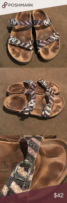 Birkenstock Birkis. Sandals Birkenstock Birkis zebra sandals in good condition with normal wear on sole and sides shown in pics Birkenstock Shoes Sandals