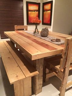 8 People Pallet Dining Se - 125 Awesome DIY Pallet Furniture Ideas | 101 Pallet Ideas - Part 5