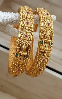 Temple jewellery available at AnkhJewels for booking WhatsApp on - womansbeltandjacket Gold Bangles Design, Gold Earrings Designs, Gold Jewellery Design, Handmade Jewellery, Silver Jewellery, Crystal Jewelry, Jewelry Art, Jewelry Rings, Bridal Bangles