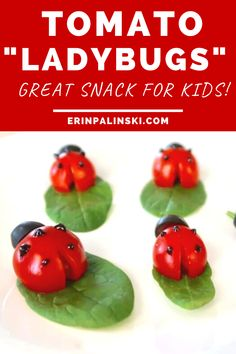 This tomato snack recipe is so cute!  You can make these little tomato ladybugs which make a great healthy snack for kids.  I think your little ones will love this vegetable snack. #tomatoes #snack