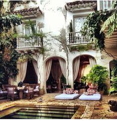 Dream House backyard, pool, cabanas, balconies, landscape, outdoor dining area