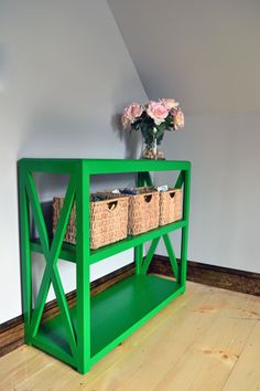 Green Painted Bookcase In Guest Room - Benjamin Moore Yellow Green
