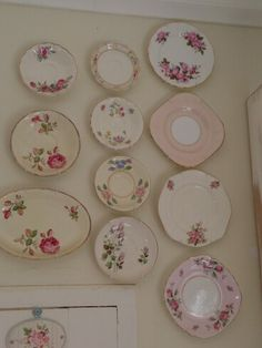 Vintage plates Vintage Plates, Vintage Dishes, Plate Wall, Plates On Wall, Plate Display, Teacups, Chalk Paint, Decorative Plates, Roses