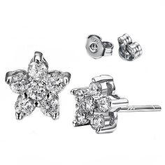 Casoty Jewelry 925 Silver CZ Gemstone Star Crystal Stud Earrings Womens