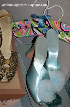 Vintage shoes and slippers and retro padded hangers