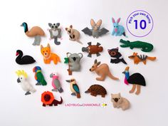 Not available, no pic - useful for inspration AUSTRALIAN ANIMALS felt magnets - Kangaroo Koala Echidna Dingo Numbat Wombat Emu Cassowary Platypus Quokka Cockatoo Bat Black swan etc. Fabric Toys, Felt Fabric, Safari Animals, Felt Animals, Arctic Animals, Woodland Animals, Australian Gifts, Aussie Christmas, Australia Animals