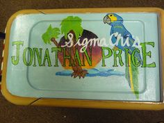 Painted cooler - made for Gamma Phi Beta Spring Formal 2011.  Margaritaville logo on the lid.