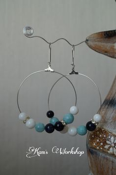 Earings with Agate, Aquamarine, Sunstone and crystals.
