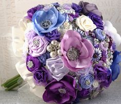 Brooch Bridal Bouquet Jeweled Bouquet in Purple, Periwinkle, Lilac and Cream