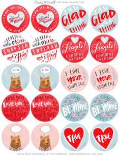 Free Printable hand drawn round valentines day labels for all you love packages by Emily McDowell