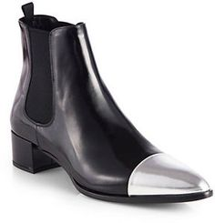 Prada Leather Metallic Cap-Toe Ankle Boots