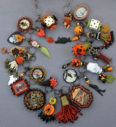 Halloween Charm Necklace by Diane Hyde 2013 - Bead embroidery, peyote, netting, stringing, vintage items, ceramic, scrapbook items, watch parts, dice, charms, seed beads, accent beads, crystals. #cbloggers #jewelryinspo #jewelrymaking #funaccessories