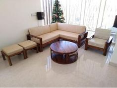Buy Winster L-Shaped Wooden Sofa (Warm Grey, Walnut Finish) Online in India - Wooden Street Corner Sofa Wooden, Wooden Sofa Designs, Sofa Bed Design, Wooden Street, L Shaped Sofa, Best Sofa, Warm Grey, Modern Sofa, Sofa Set