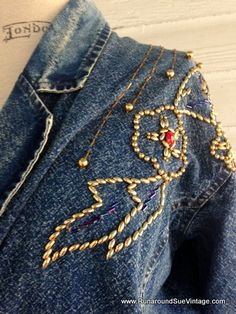 Vintage Denim Jacket with BLING by runaroundsuevintage on Etsy